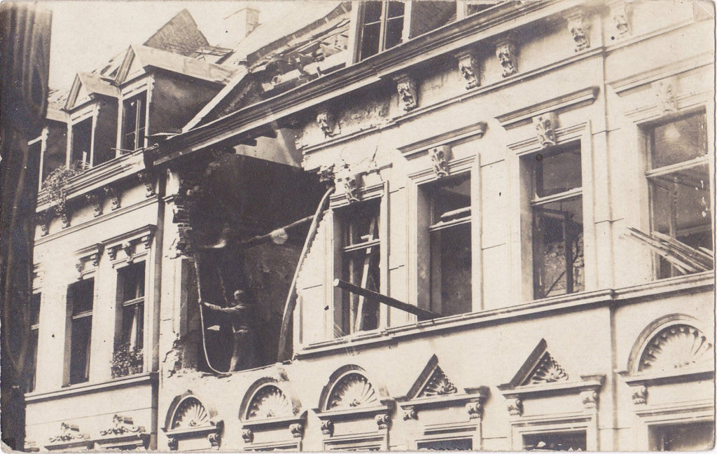 Paris Hit By Shells- 1910s Antique Photograph- WWI Bombing- Bombardment Aftermath- Ruins- Real Photo Postcard- RPPC