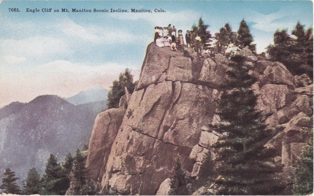 Eagle Cliff on Mt. Manitou- 1910s Antique Postcard- Manitou, Colorado- Edwardian Tourists- Mountain Landscape- Souvenir Card