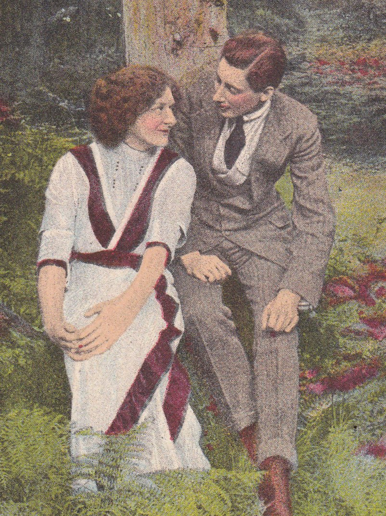 Hometown Girl- 1910s Antique Postcard- Lovers Under Tree-  Edwardian Romance- Art Comic Card- Bamforth & Co.- Used
