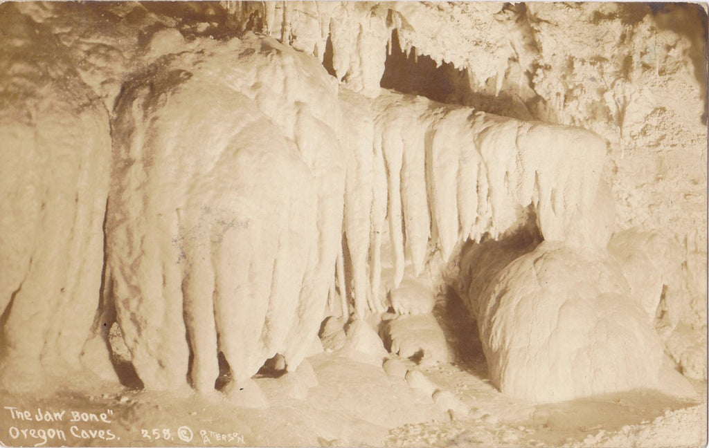 The Jaw Bone- 1930s Antique Photograph- Oregon Caves- Rock Formation- Souvenir- Real Photo Postcard- DOPS RPPC- Photographer Patterson