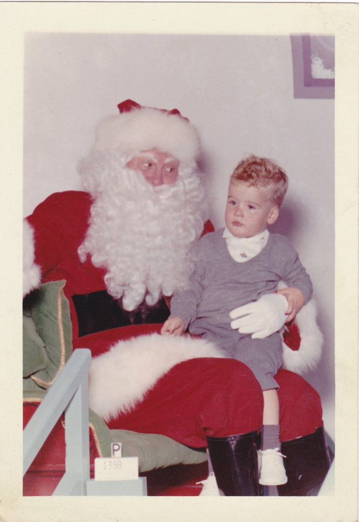 Believe in Santa- 1950s Vintage Photograph- Christmas Decoration- Santa Claus Photo- Color Snapshot- Santa's Lap- Vernacular- Paper Ephemera