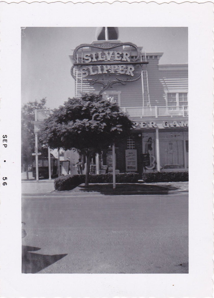 Silver Slipper- 1950s Vintage Photographs- SET of 3- Last Frontier Village- Paradise, Nevada- Las Vegas Casino- Hearse Wagon- Paper Ephemera