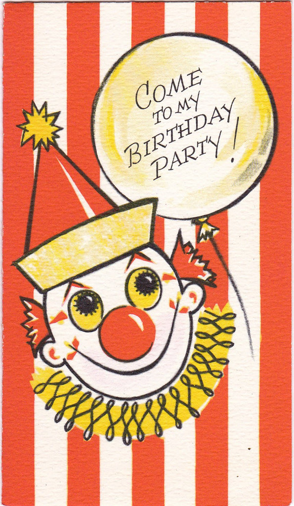 Come To My Birthday Party- 1950s Vintage Card- Circus Clown- Party Invitation- Scary Clown- Gibson Greeting- Used