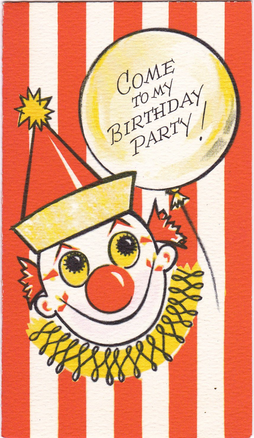 Come To My Birthday Party 1950s Vintage Card Circus Clown Party Invitation Scary Clown Gibson Greeting Used