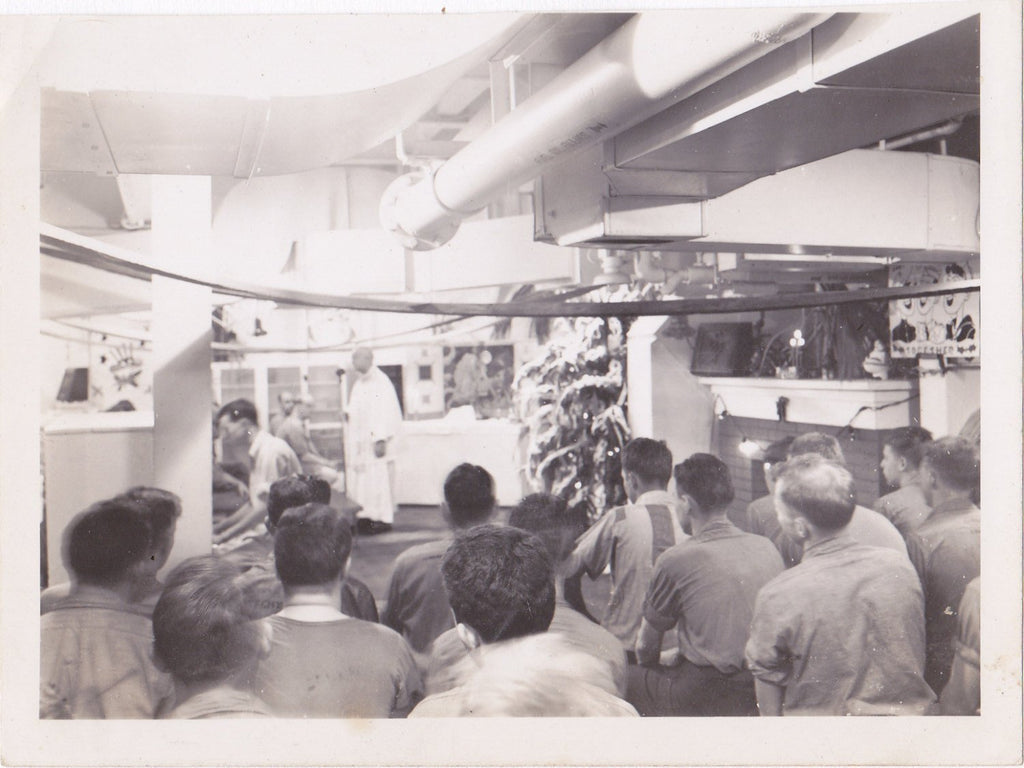 Christmas at Sea- 1940s Vintage Photograph- WWII Sailors Aboard USS Cebu- Navy Ship Crew- WW2 Snapshot- Found Photo- Paper Ephemera