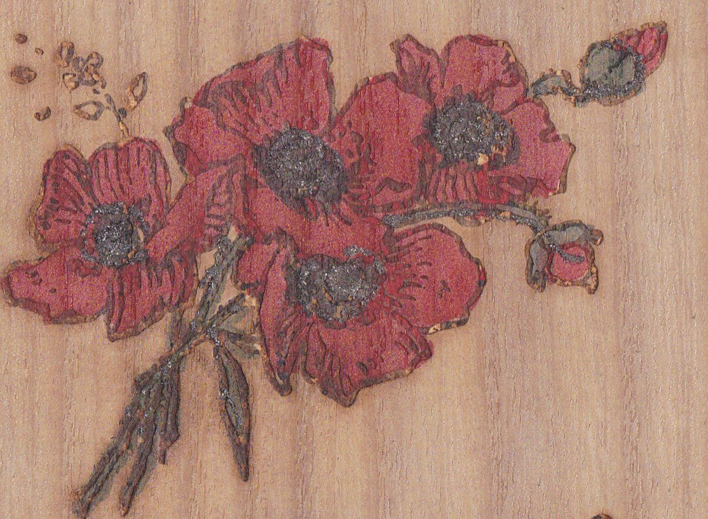 Remember Me- 1910s Antique Wooden Postcard- Red Poppy Flowers- Gem Photo- Wood Burning- Sincere Greeting- J. W. N. Co.