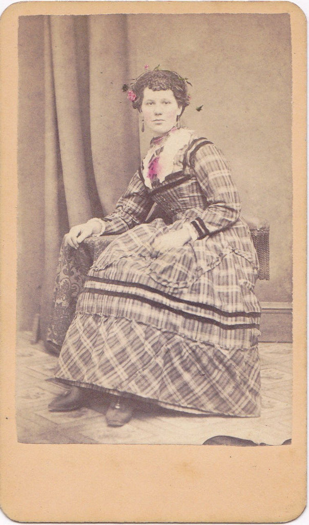 Elegant Lady- 1800s Antique Photograph- Victorian Woman- 19th Century Dress- J P Percival- Hackettstown, NJ- Hand Tinted- CDV