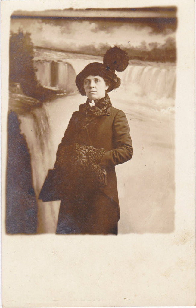 Niagara Tourist- 1910s Antique Photograph- Souvenir Portrait- Niagara Falls- Painted Backdrop- Real Photo Postcard- AZO RPPC