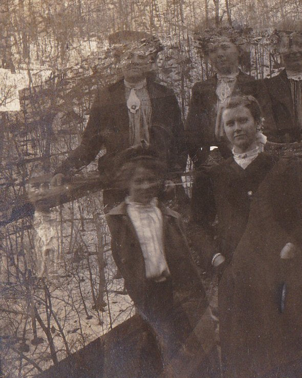 Haunting Ourselves- 1900s Antique Photograph- Ghost Girls- Double Exposure- Accidental Photography- Real Photo Postcard- CYKO RPPC