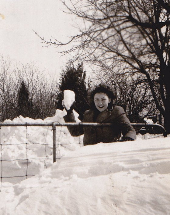 Snowed In- 1940s Vintage Photograph- Waist High Snowdrift- Winter Woman- Snowball Fight- Found Photo- Paper Ephemera