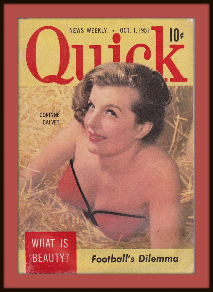 Football's Dilemma- 1950s Vintage Magazine- Quick News Weekly- October 1, 1951- What is Beauty- Actress Corinne Calvet- Paper Ephemera