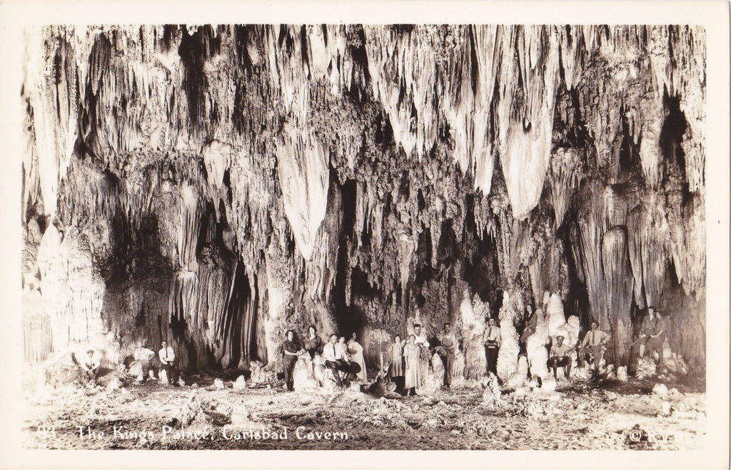 The King's Palace- 1940s Vintage Photograph- Carlsbad Cavern, New Mexico- Cave- National Park- Real Photo Postcard- EKC RPPC