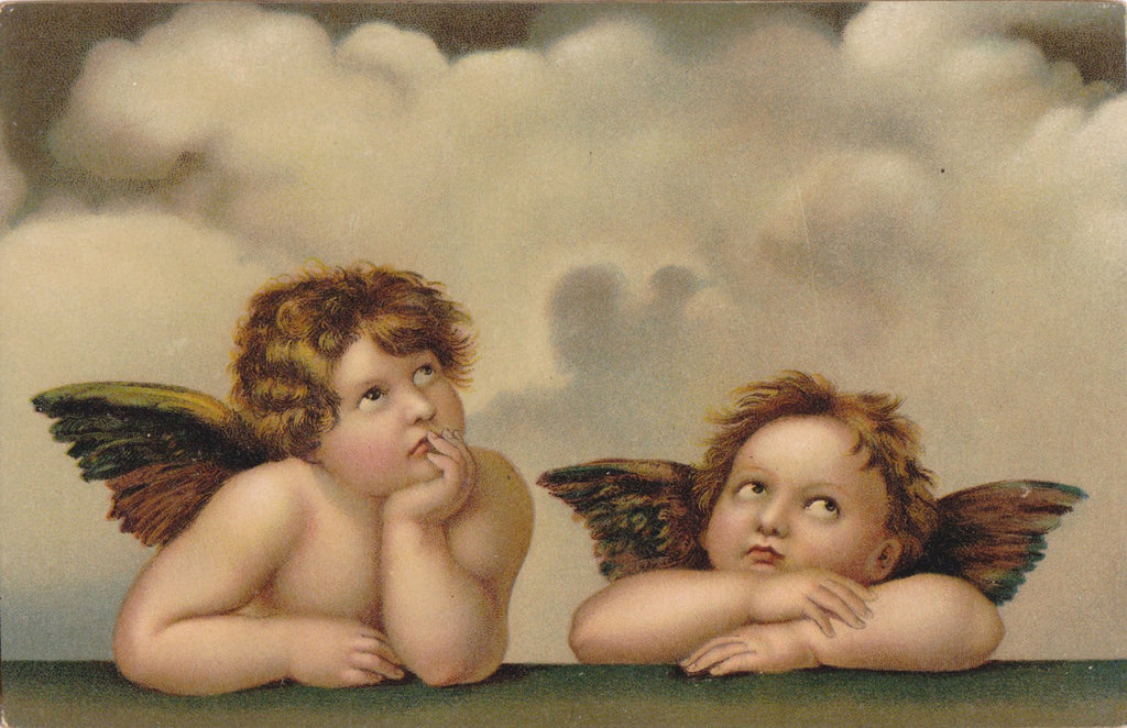 Angels of Sistine Madonna- 1900s Antique Postcard- Winged Cherubs- Cherubim- Raphael Sanzio- Classic Art- Stengel & Co
