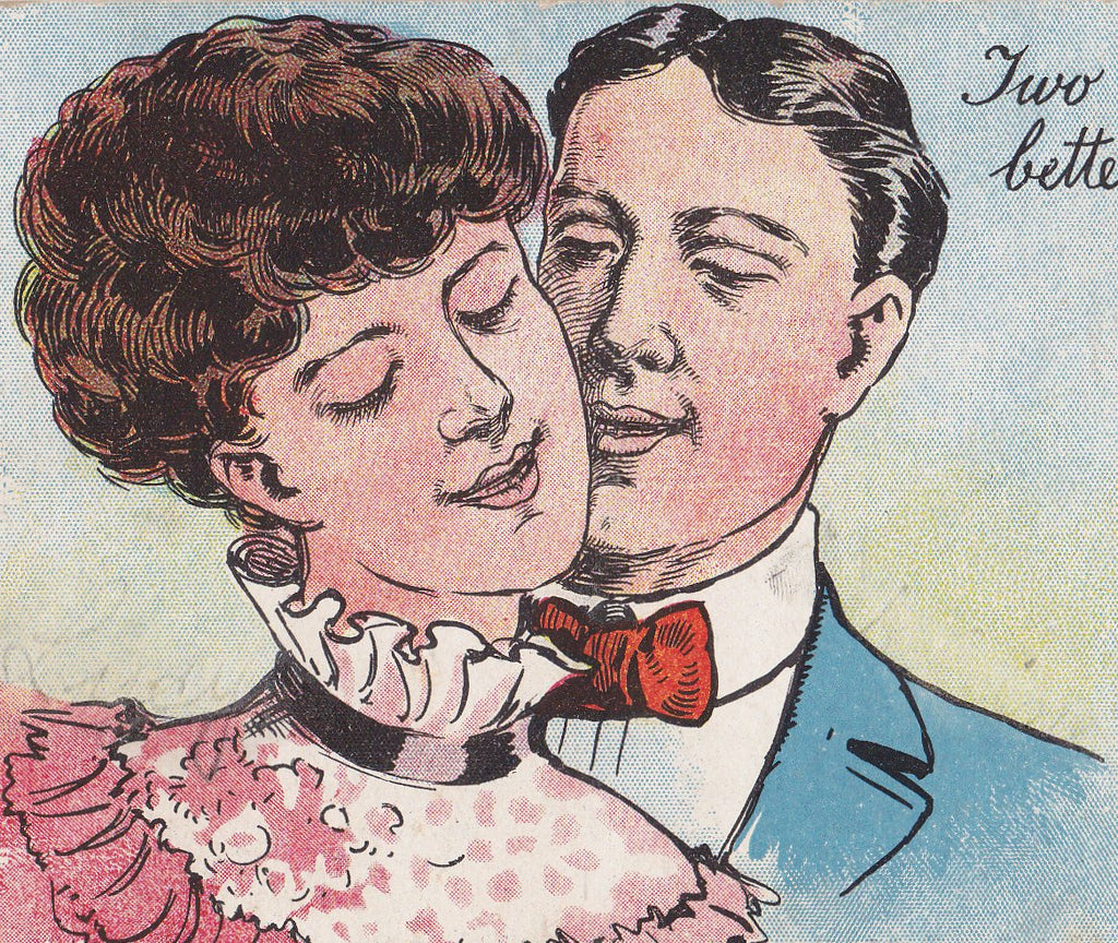 Two Heads Are Better Than One- 1900s Antique Postcard- Edwardian Romance- Art Comic- Couple Humor- Eyes Closed- Used
