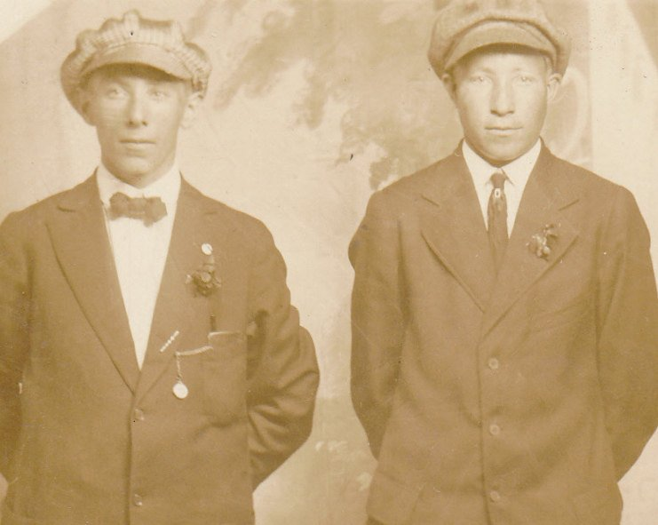 Dandy Duo- 1910s Antique Photograph- Edwardian Dandy- Handsome Men- Found Photo Brothers- Real Photo Postcard AZO RPPC- Paper Ephemera