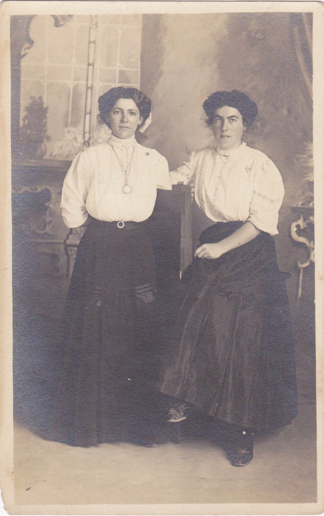 Best Friends- 1900s Antique Photograph- Edwardian Women- Shirtwaist Dress- Beautiful Woman- Real Photo Postcard- Artura RPPC- Paper Ephemera
