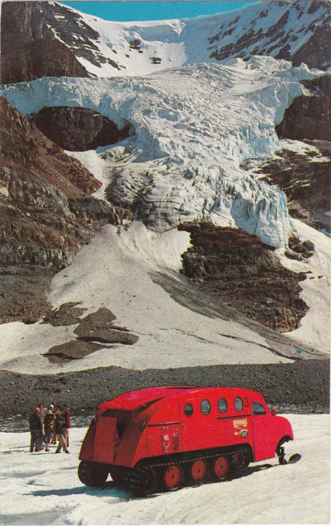 Canadian Ice Taxi- 1950s Vintage Postcard- 50s Snowmobile- Andromeda Ice Fall- Alberta, Canada- Banff National Park- Stelling Agencies Ltd.- Unused