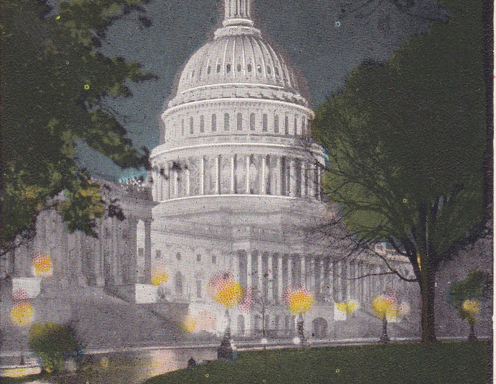 U.S. Capitol At Night- 1920s Antique Postcard- Washington, D.C.- B. S. Reynolds- Souvenir Postcard- Capitol Dome- Unused