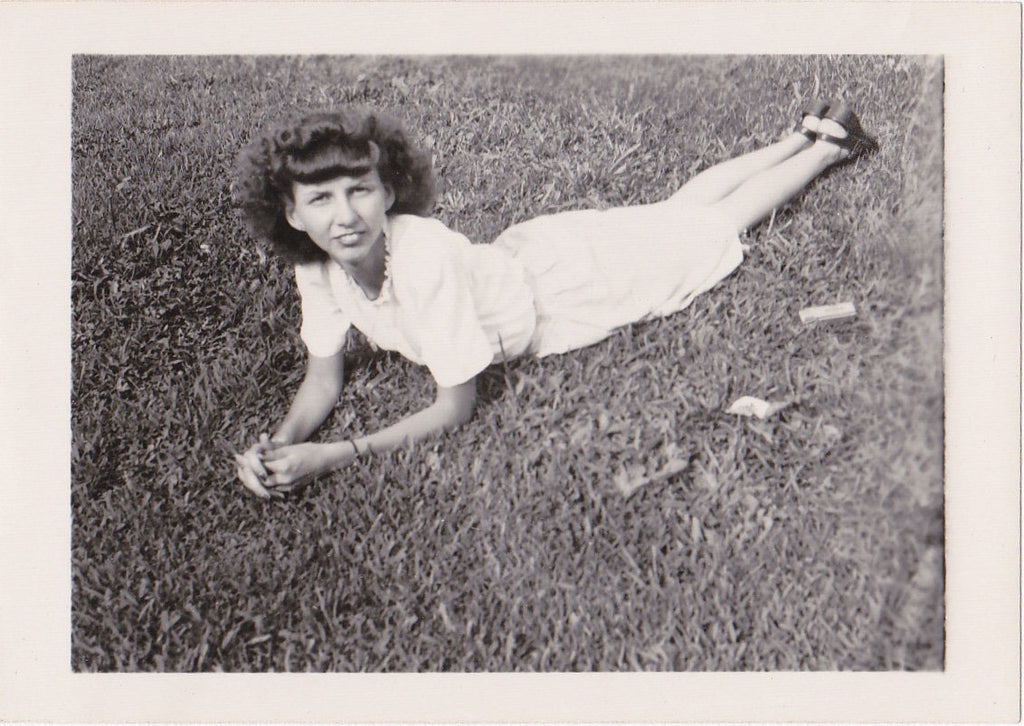 Toothsome Beauty- 1940s Vintage Photograph- Pretty Woman- Laying in Grass- Found Photo- 40s Snapshot- Vernacular Photo