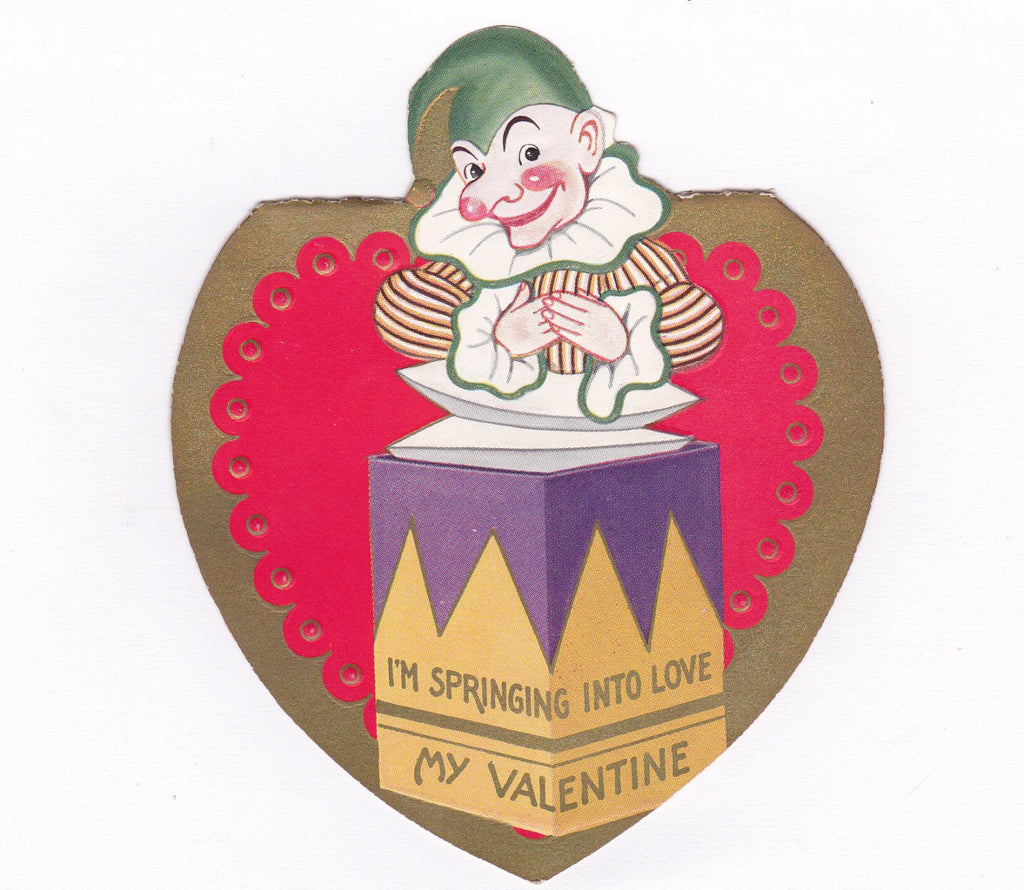 Springing Into Love- 1930s Vintage Valentine Card- Jack-In-The-Box- Punchinello Clown- Creepy Cute- Antique Valentine Decor- Used