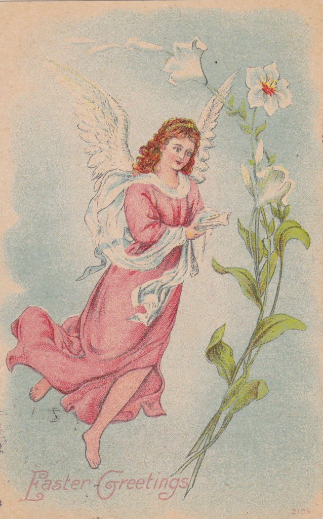 Easter Angel- 1900s Antique Postcard- Edwardian Easter Decor- Art Nouveau Lily- White Dove Wings- Singing Seraph- Used