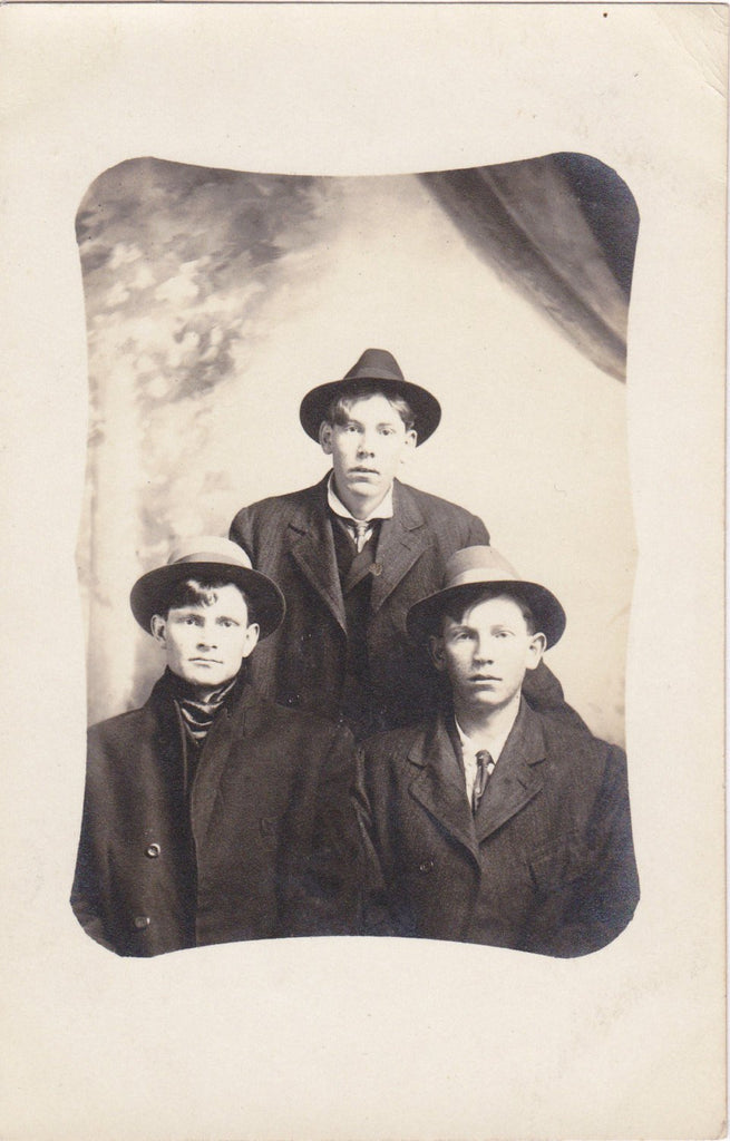 George and the Twins- 1900s Antique Photograph- Identical Twin Brothers- Edwardian Men- Handsome- Real Photo Postcard- RPPC- Paper Ephemera
