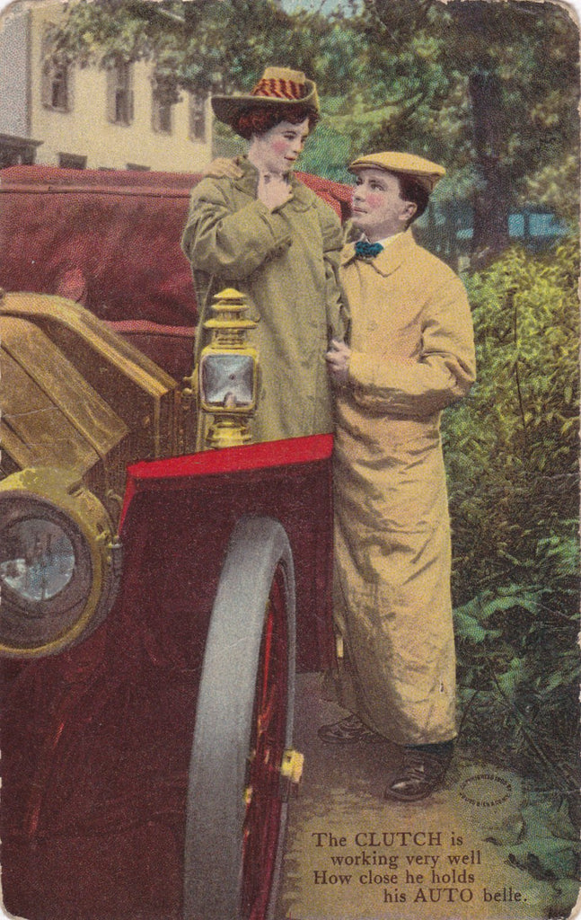 His Auto Belle- 1900s Antique Postcard- Automobile Art Comic- Clutch Pun- Edwardian Romance- Julius Bien Co.- Auto Series- Used