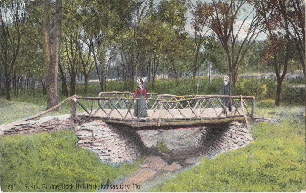 Rustic Bridge- 1900s Antique Postcard- Rock Hill Park, Kansas City, Mo- Missouri Landscape- Edwardian Decor- Elite Post Card