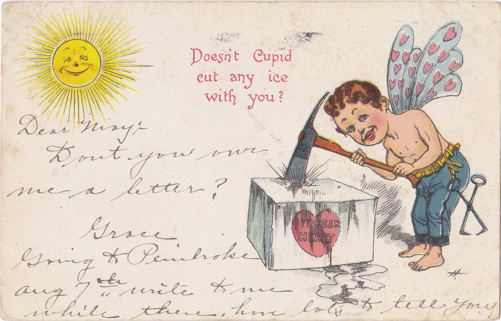 Doesn't Cupid Cut Any Ice With You- 1900s Antique Postcard- Ice Breaker- Frozen Heart- Edwardian Valentine- Art Comic- Used