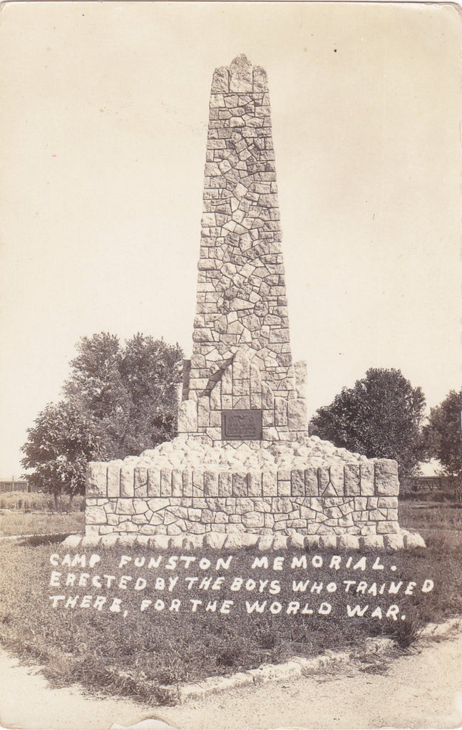 Camp Funston Memorial- 1920s Antique Photograph- Fort Riley, Kansas- WWI Monument- World War- Real Photo Postcard- NOKO RPPC- Paper Ephemera