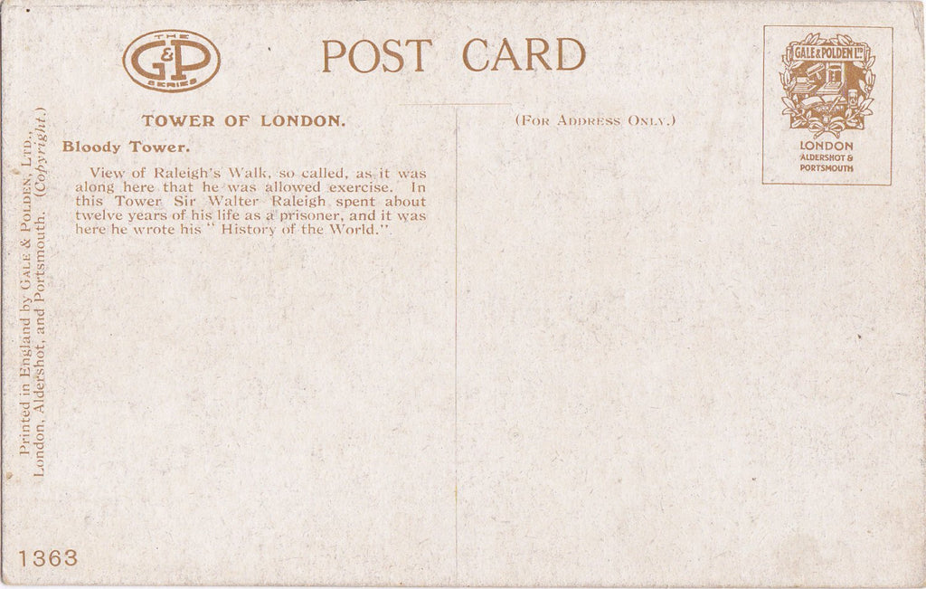 Bloody Tower- 1910s Antique Postcard- Raleigh's Walk, Tower of London, England- Historical Souvenir- Gale & Polden Ltd