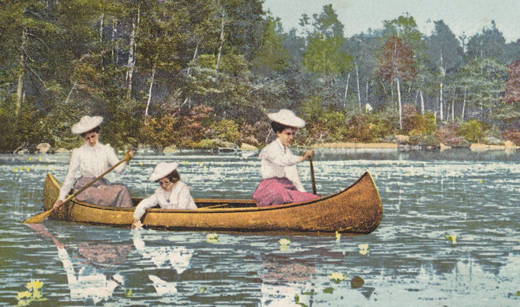 A Lily Pond- 1900s Antique Postcard- Rowing Canoe- Spring-Time- Edwardian Women- Rowboat- Detroit Photographic Co.- Used
