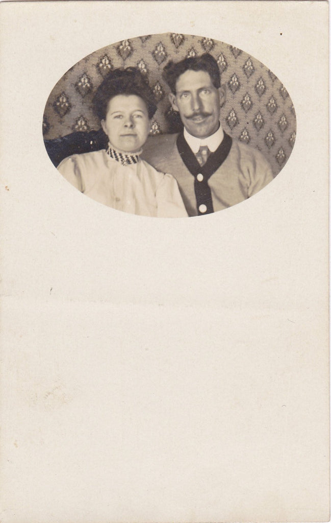 Edwardian Couple- 1900s Antique Photograph- Wall Paper Pattern- Waxed Mustache- Found Photo- Real Photo Postcard- Cyko RPPC- Paper Ephemera