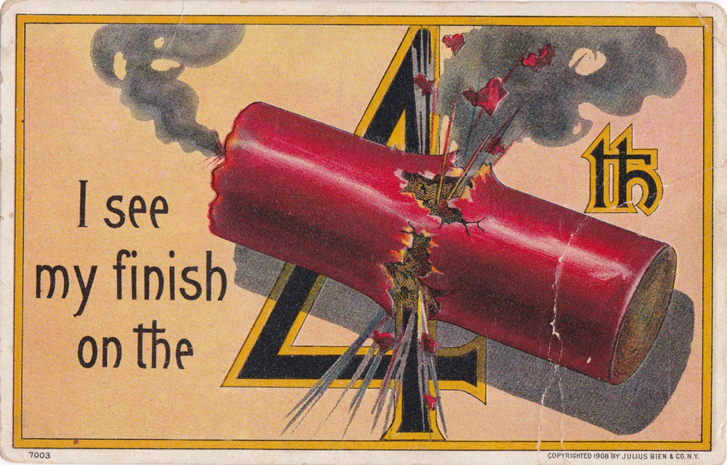 I See My Finish- 1900s Antique Postcard- 4th of July- Firecracker- Fireworks- Edwardian Decor- Julius Bien Co- Used