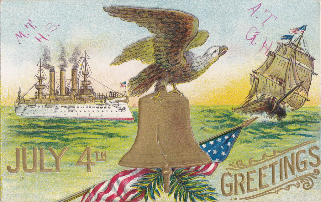 July 4th Greetings- 1900s Antique Postcard- Bald Eagle- Liberty Bell- American Flag- Steamship- Frigate- Edwardian Decor- Used
