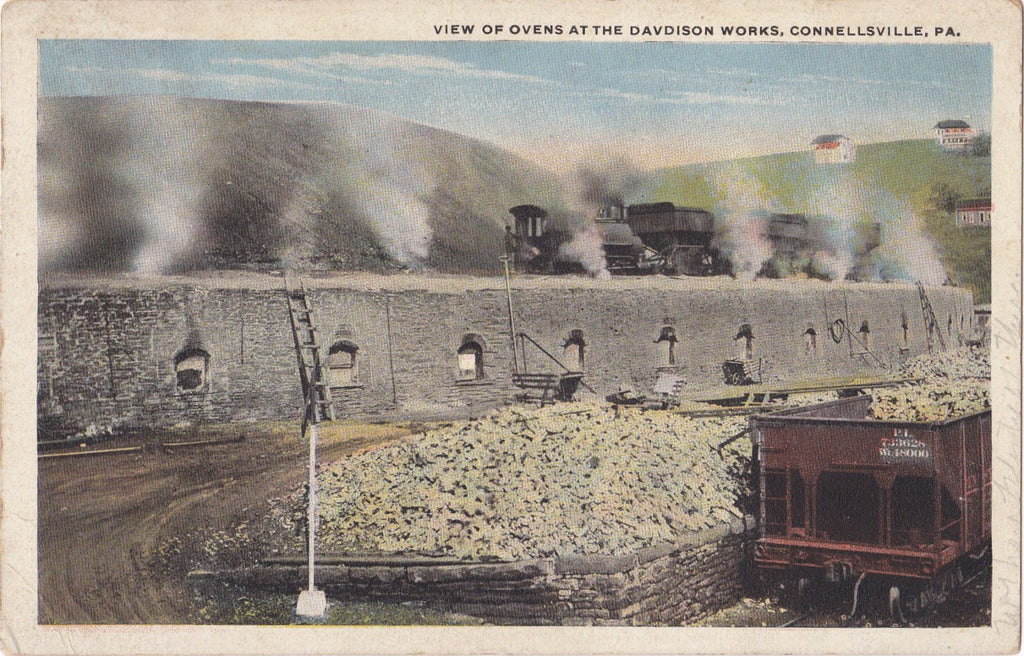 Davidson Works Ovens- 1920s Antique Postcard- Coal Mining- Connellsville, PA- Pennsylvania Industrial History- Randson- I. Robbins & Son- Used