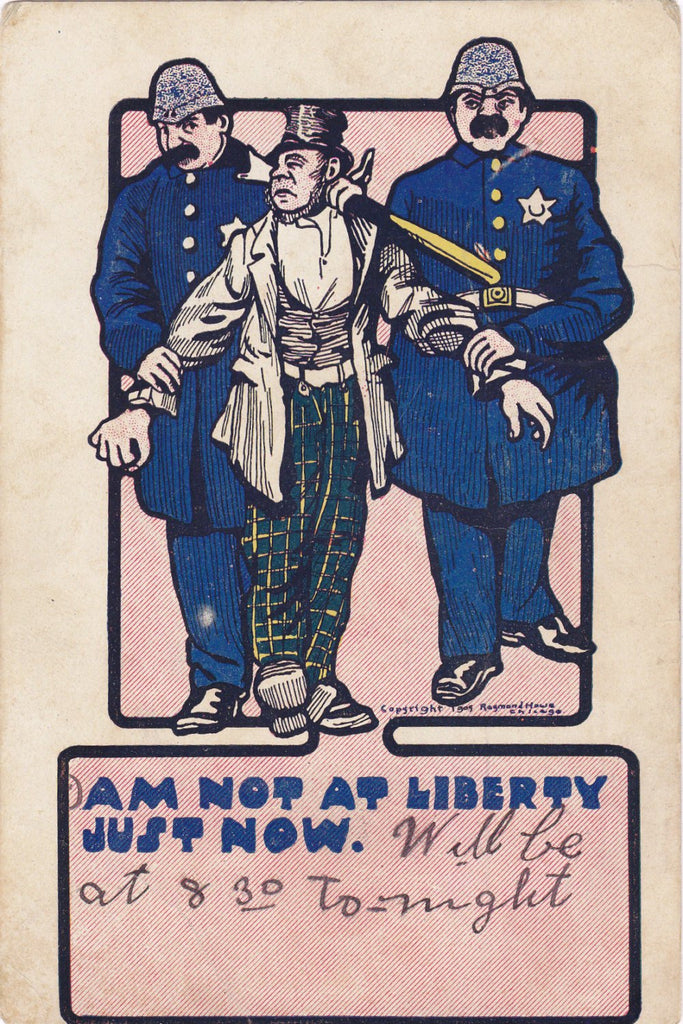 Not At Liberty Just Now- 1900s Antique Postcard- Edwardian Humor- British Bobby- Policeman Comic- Raymond Howe Artist Signed- Used