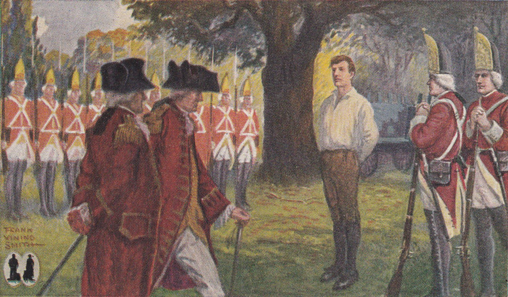 Execution of Captain Nathan Hale- 1910s Antique Postcard- American History- Revolutionary War Spy- Frank Vining Smith- Palmyra, IN