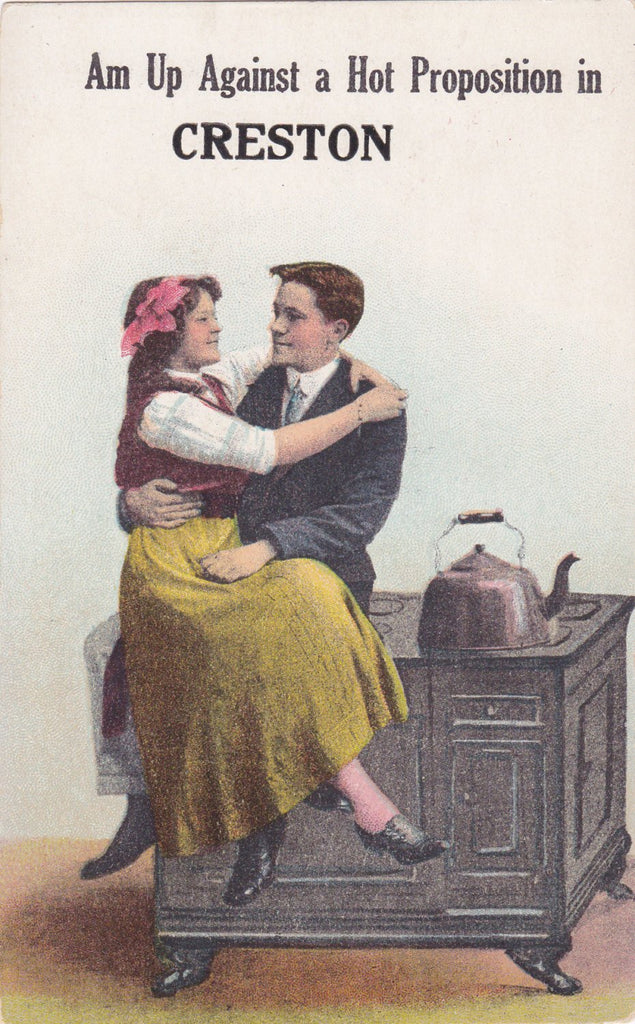 In Creston, Iowa- 1900s Antique Postcards- SET of 3- Edwardian Romance- Souvenir Greeting- Art Humor- Put Me To Sleep- A. A. Co.- Used
