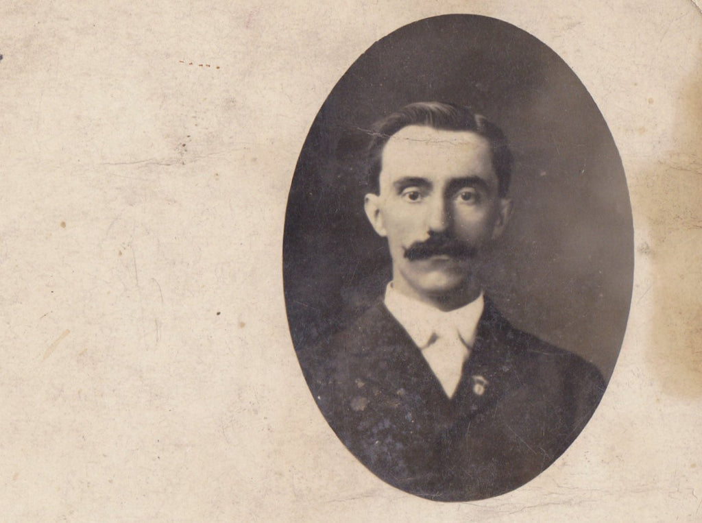 Hauntingly Handsome- 1900s Antique Photograph- Edwardian Man- Mustache- Found Photo- Real Photo Postcard- Cyko RPPC- Portrait