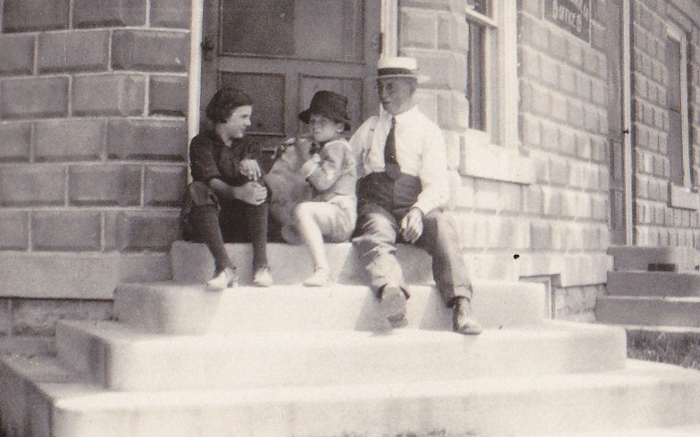 Uncle Charlie's Office- 1920s Antique Photograph- Man and Children- Found Photo- Vintage Snapshot- Vernacular- Panama Hat