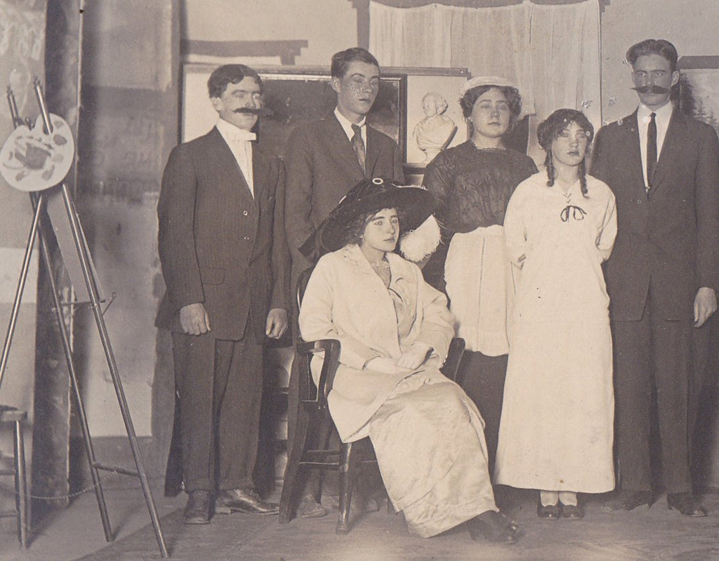 High School Play- 1900s Antique Photograph- Edwardian Theater- Stage Make-Up- Costumes- Real Photo Postcard- AZO RPPC