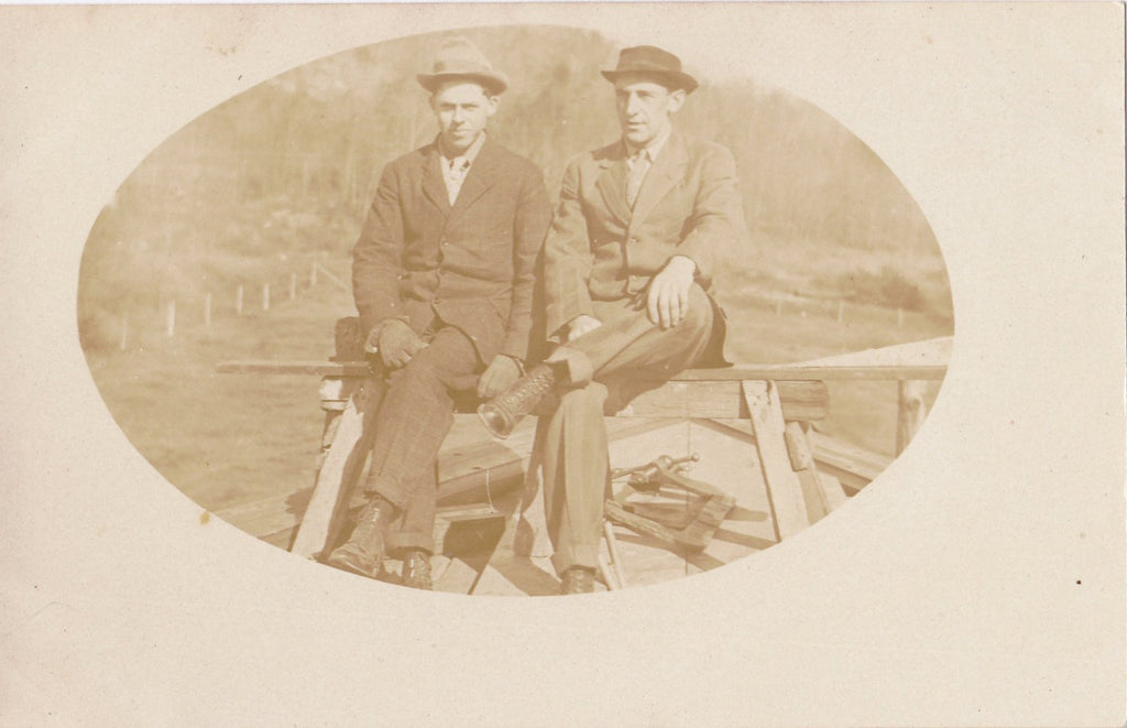 Pair of Jacks- 1900s Antique Photograph- Edwardian Men- Dandy Man- Construction- Vernacular- Real Photo Postcard- AZO RPPC