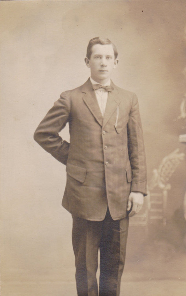 This Is Me Self- 1900s Antique Photograph- Edwardian Dandy- Handsome Man- Bow Tie- Real Photo Postcard- Cyko RPPC