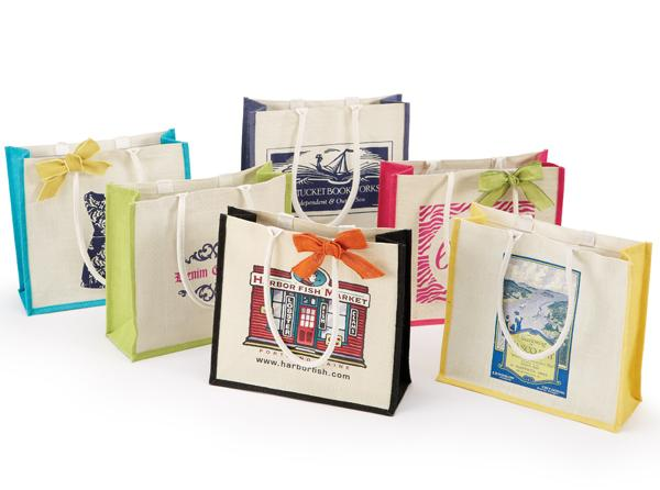 Colored Jute Gusset Shopping Bags