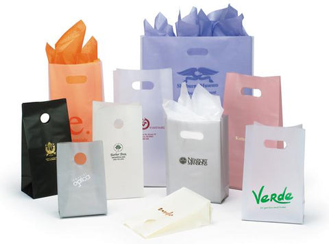Frosted High Density Shopping Bags with Die Cut Handles