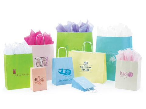 Matte Tints on White Kraft Paper Shopping Bags