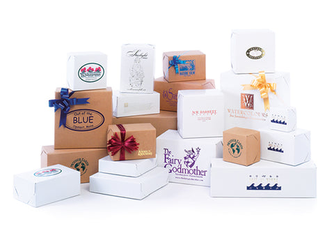 Natural Kraft & White Gloss Two Piece Lock Corner Gift Boxes