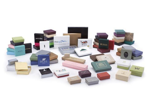 White, Natural Kraft and Colored Cotton Filled Jewelry Boxes