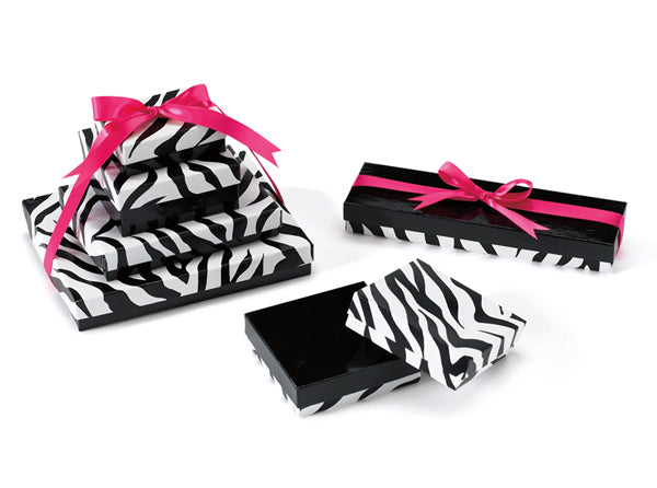 Zebra Cotton Filled Jewelry Boxes